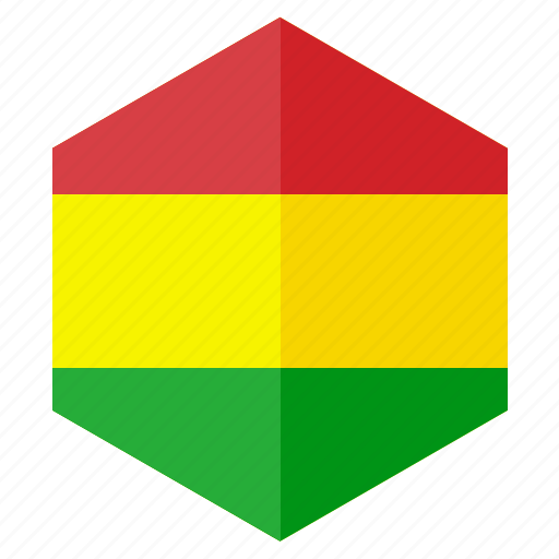 america, bolivia, country, design, flag, hexagon icon