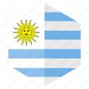 america, country, design, flag, hexagon, uruguay icon