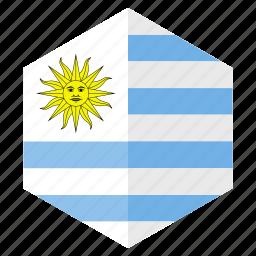 america, country, design, flag, hexagon, uruguay icon