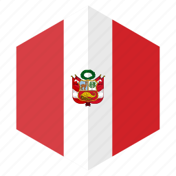 america, country, design, flag, hexagon, peru icon