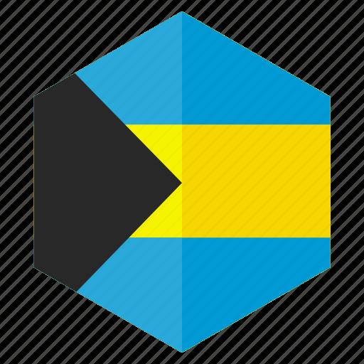 america, bahamas, country, design, flag, hexagon icon