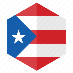 america, country, design, flag, hexagon, puerto rico icon