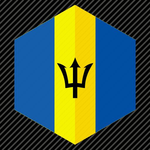 america, barbados, country, design, flag, hexagon icon