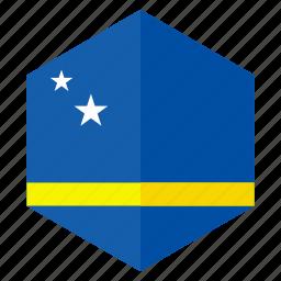 america, country, curacao, design, flag, hexagon icon