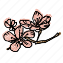 asian, asian flowers, cherry blossoms, floral, flowers, korean icon