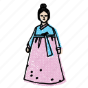 asian, asian dress, asian woman, hanbok, korean icon