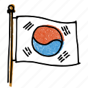 asian, korean, korean flag, korean-american, national flag, seoul, south korea icon