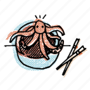 asian, asian restaurant, food, korean, live octopus, octopus, restaurant icon