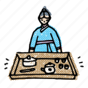 asian, hanbok, korean, korean tea ceremony, tea ceremony, tea set, traditional icon