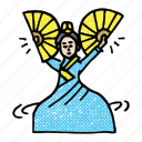 asian, asian woman, buchaechum, fan dancer, hanbok, korean icon