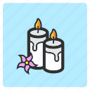 candle, cartoon, color, flame, flat color, illustration, light icon