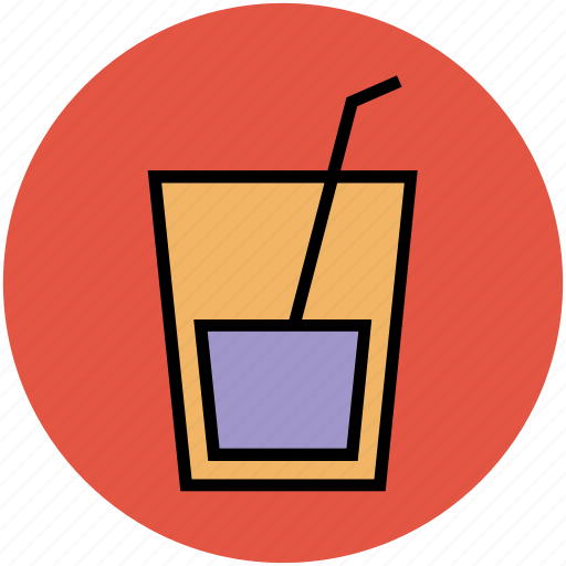 beverage, drink, glass, juice, lemonade, straw, water glass icon