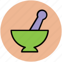 bowl grinder, herbal medication, kitchen tool, medicine bowl, mortar, pestle, pharmacy tool icon