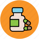 drugs, food supplements, medication, medicine jar, pills, vitamins icon