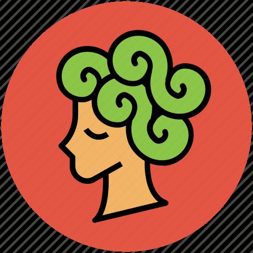 beauty salon, curly hair, hair care, hair style, hair wig, woman head icon