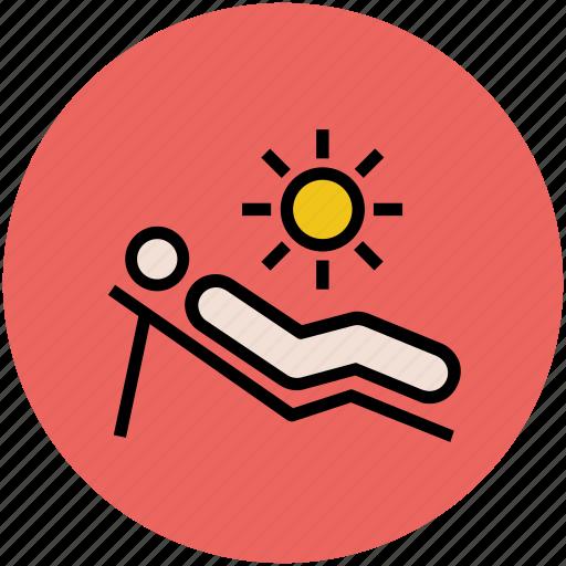 beach, summer, sun tanning, sunbathe, sunbathing, sunbed, tanning icon