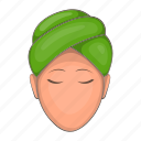beauty, care, cartoon, face, female, head, towel icon