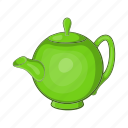 cartoon, drink, green, kettle, leaf, tea, teapot icon