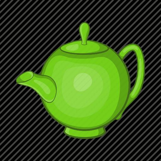 cartoon, drink, green, kettle, leaf, tea, teapot icon