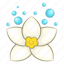 blossom, cartoon, flower, lotus, petal, spa, white icon