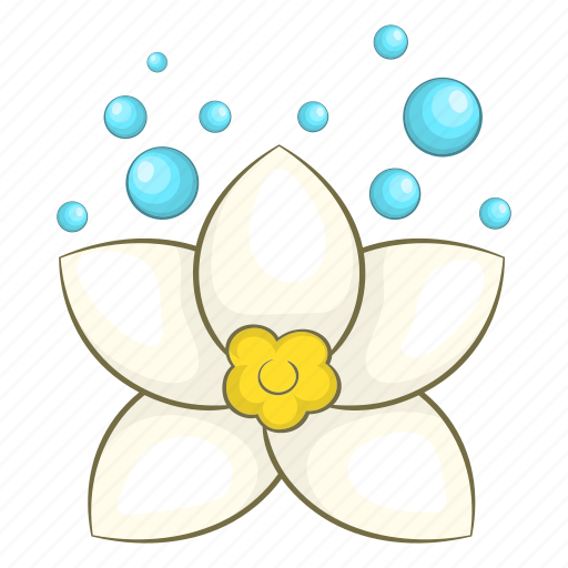 blossom, cartoon, flower, lotus, petal, spa, white icon