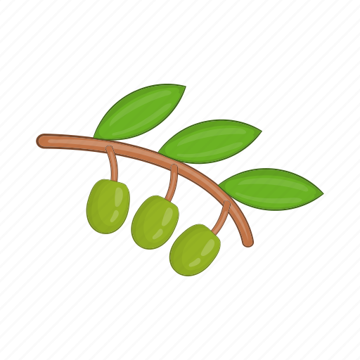 branch, cartoon, fresh, green, leaf, oil, olive icon