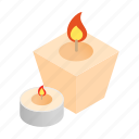 candles, decoration, flame, isometric, spa, stick, wax icon