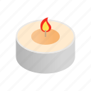 candle, flame, isometric, little, round, spa, stick icon