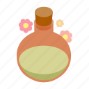 aroma, bottle, isometric, oil, relax, spa, treatment icon