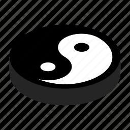 balance, harmony, isometric, tao, yang, yin, ying icon