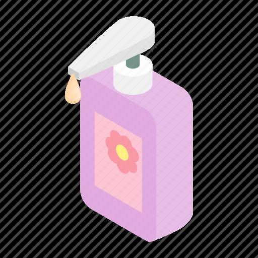 cream, dispenser, gel, isometric, liquid, pump, wash icon