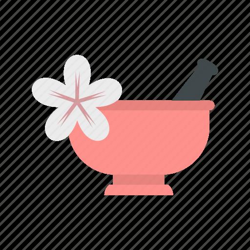 alternative, aromatherapy, bowl, design, long, mortar, pestle icon