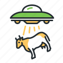 alien abduction, cow, flying saucer, space icon
