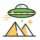 extraterrestrial civilization, flying saucer, pyramids, ufo icon