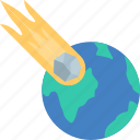 earth, end, hit, meteor icon