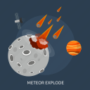 asteroid, crush, explode, impact, meteor, space, universe icon