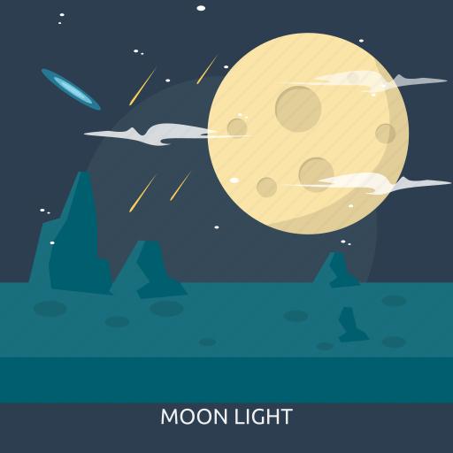light, moon, moonlight, satellite, space, universe icon