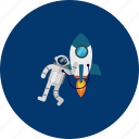 astronaut, circle, concept, design, galaxy, object, space icon