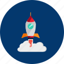 circle, concept, design, galaxy, object, rocket, space icon