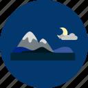 concept, design, holiday, moon, mountain, nature icon
