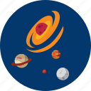 circle, concept, design, galaxy, object, planet, space icon