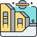 colony, distant, extraterrestrial life, space habitat icon