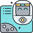 floating, head, robot icon