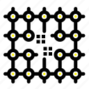 chip, connection, electricity, grid, material icon