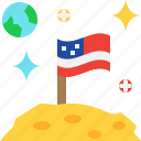 astronomy, flag, moon, science, space, universe icon