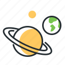 earth, planets, saturn, space icon