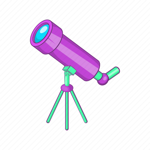 cartoon, discovery, magnify, sign, spyglass, telescope, view icon