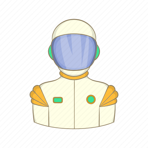 astronaut, cartoon, cosmonaut, man, science, sign, space icon