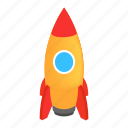 isometric, rocket, rocketship, space, spaceship, steel, travel icon