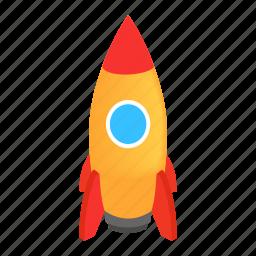 isometric, rocket, rocketship, space, spaceship, steel, travel icon